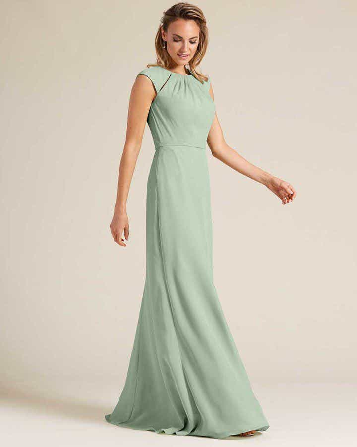 Pastel Green Cut Out Top Long Formal Gown - Front