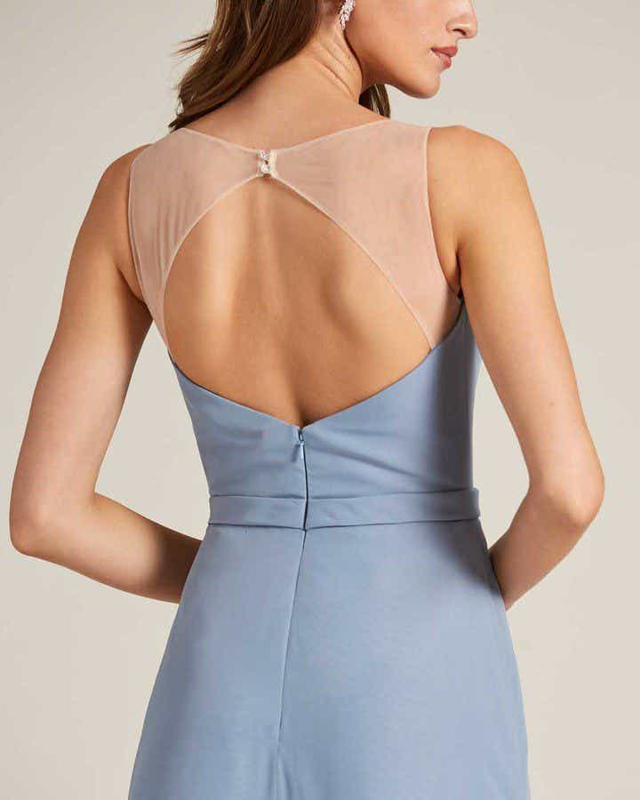 Pastel Blue Sleeveless Illusion Back Formal Gown - Detail