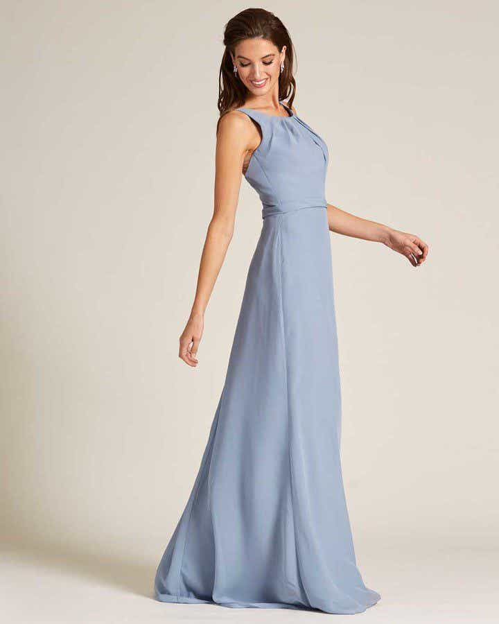 Pastel Blue Sleeveless Illusion Back Formal Gown - Front