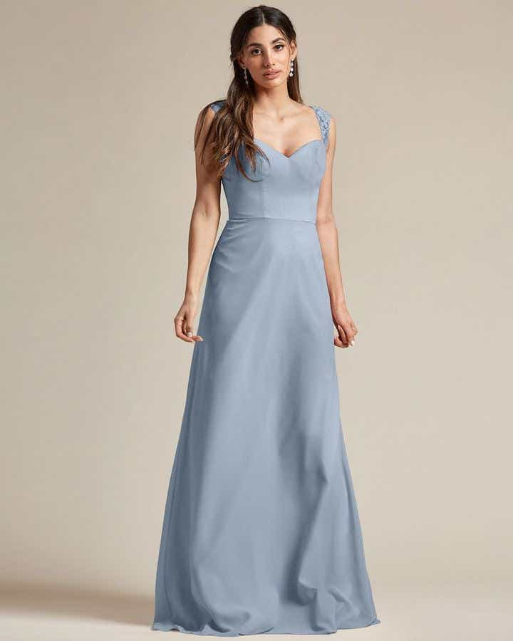Embroidered Sleeves Cut Out Back Detail Bridesmaid Gown - Front