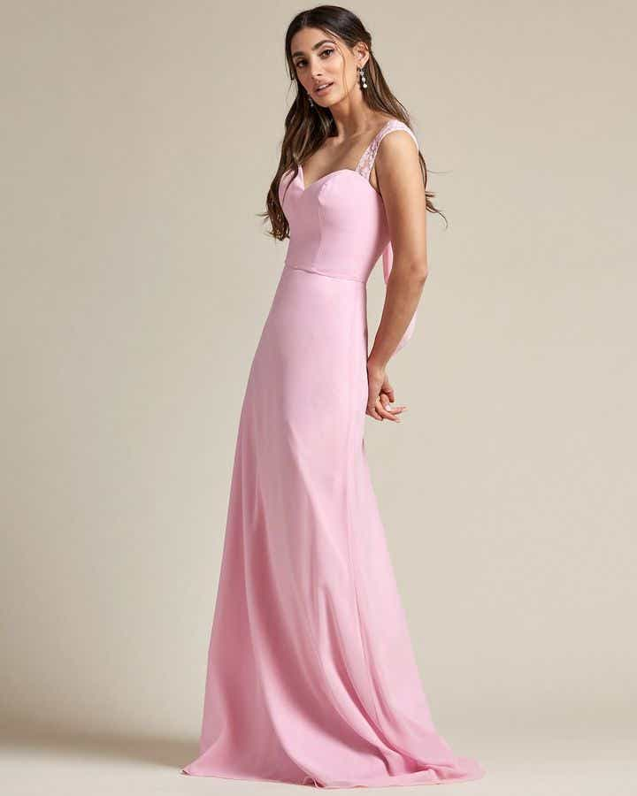 Embroidered Sleeves Cut Out Back Detail Bridesmaid Gown - Side