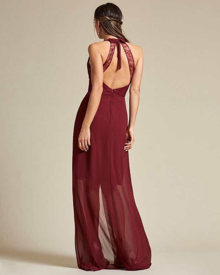 V Neck Lace Racerback Mini Dress - Back