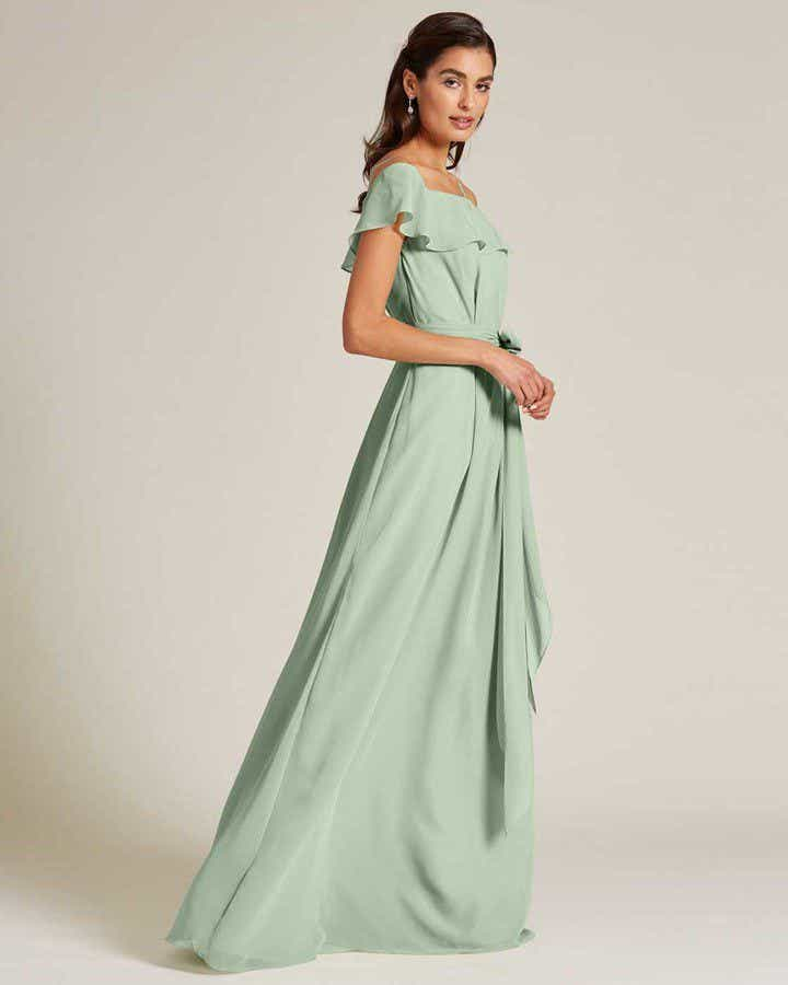 Sage Green Flounce Top Evening Gown - Front
