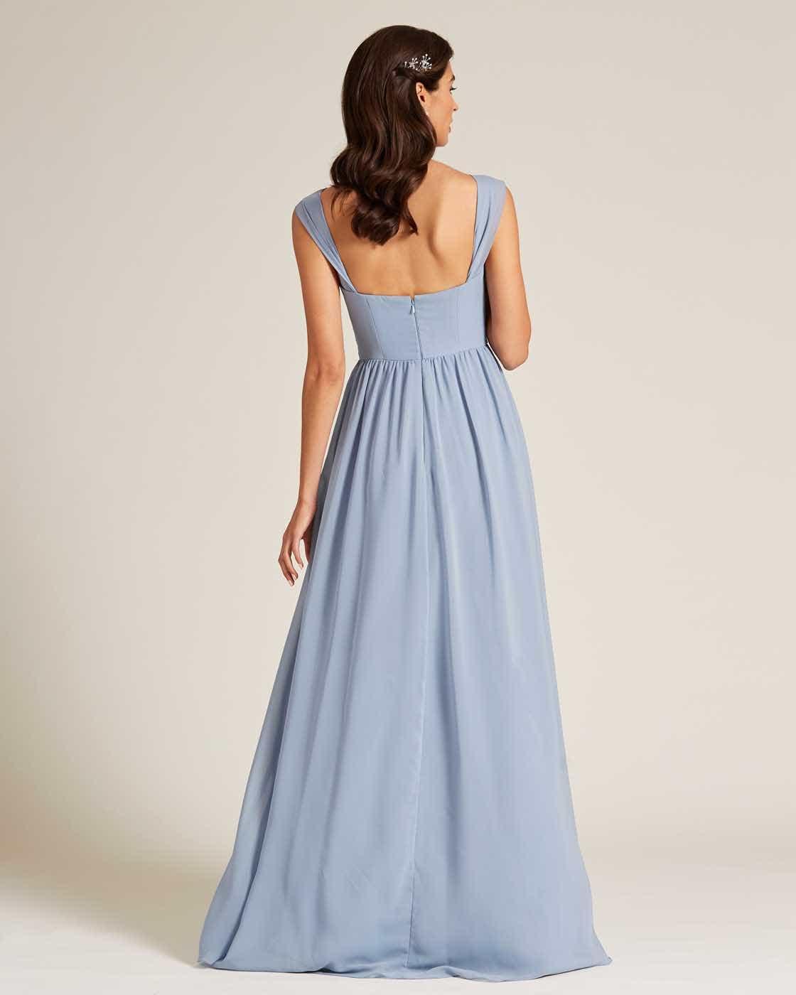 Blue Thick Strap Sweetheart Neckline Dress - Back