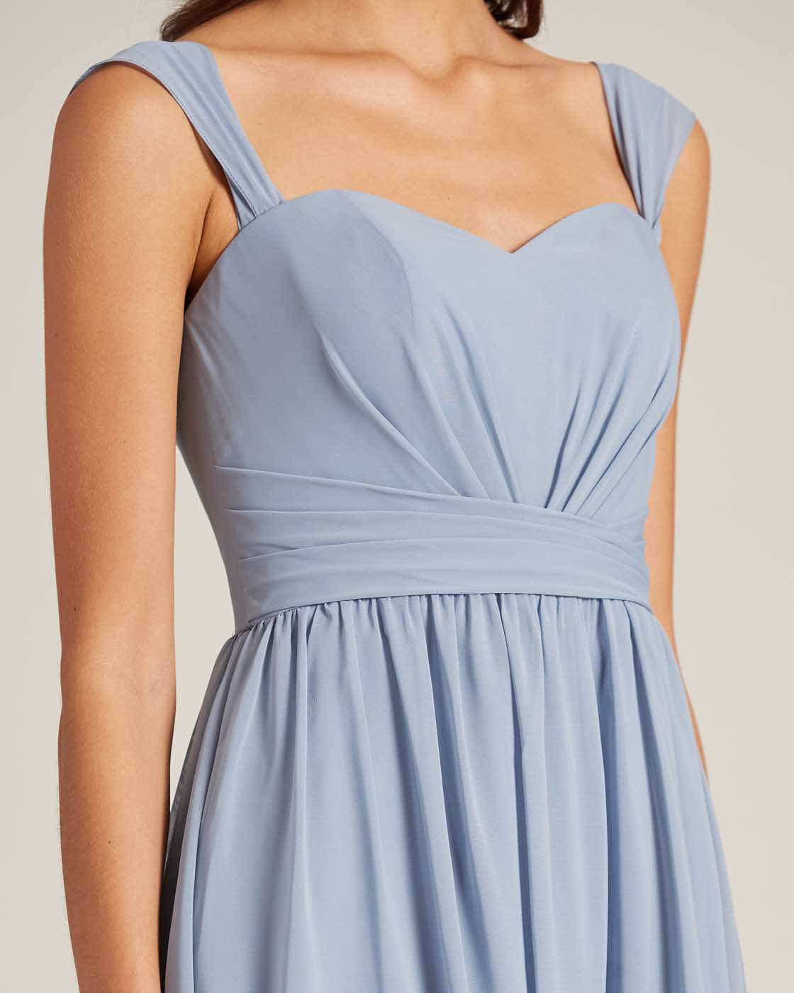 Blue Thick Strap Sweetheart Neckline Dress - Detail