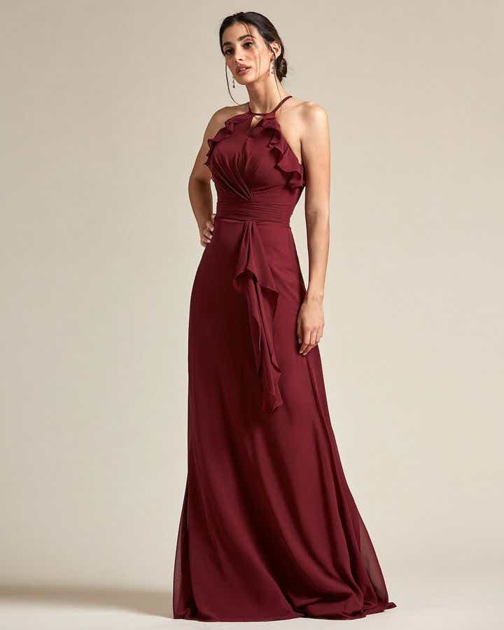 Racerback Design With Flowy Detail Long Skirt Maid of Honor Dress - Front