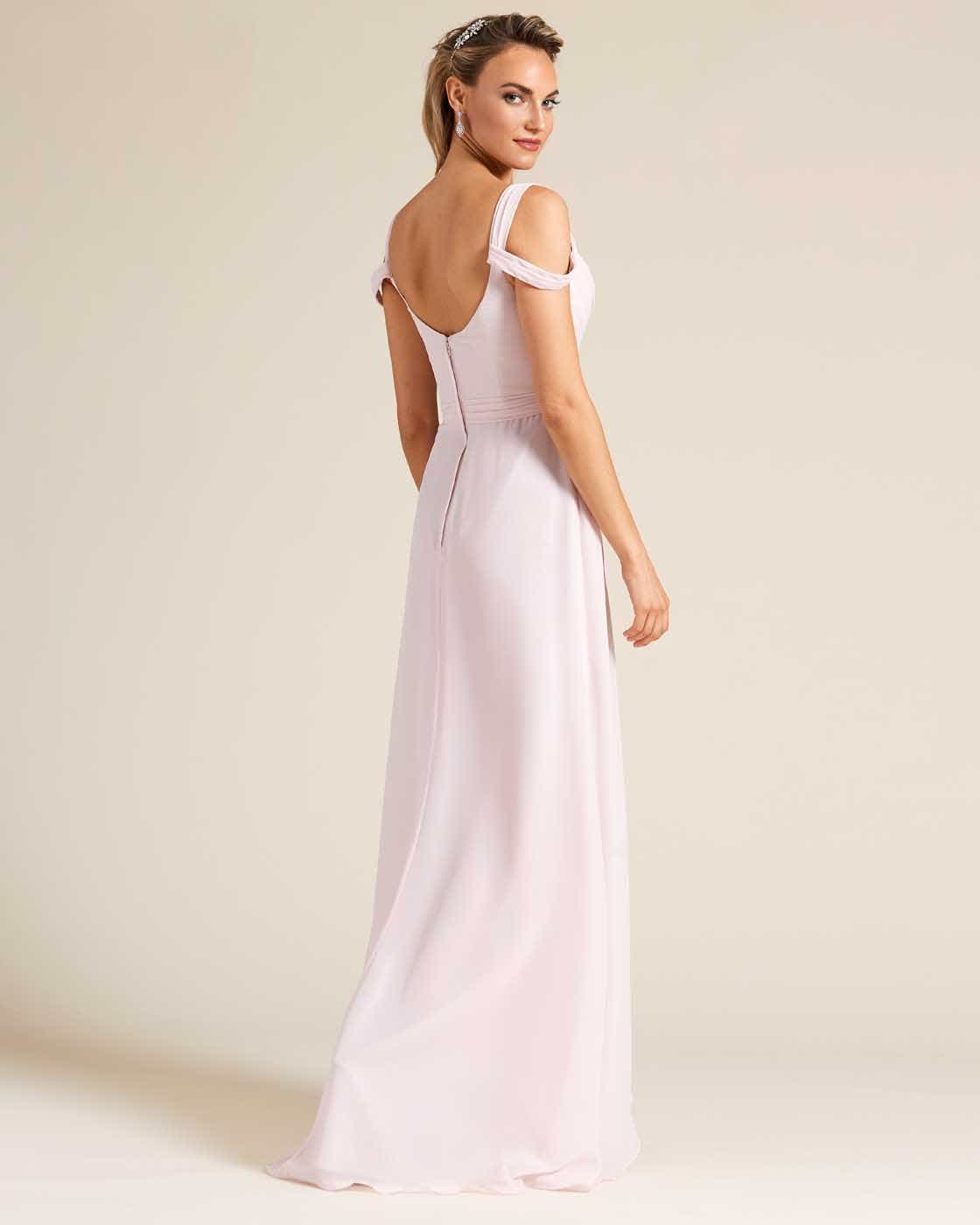 Light Pink Multi Strap Ruched Top Dress - Back