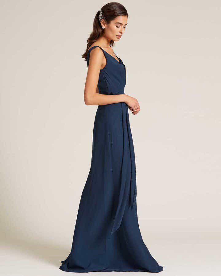 Navy Blue Asymmetrical Neckline Special Occasion Gown - Side