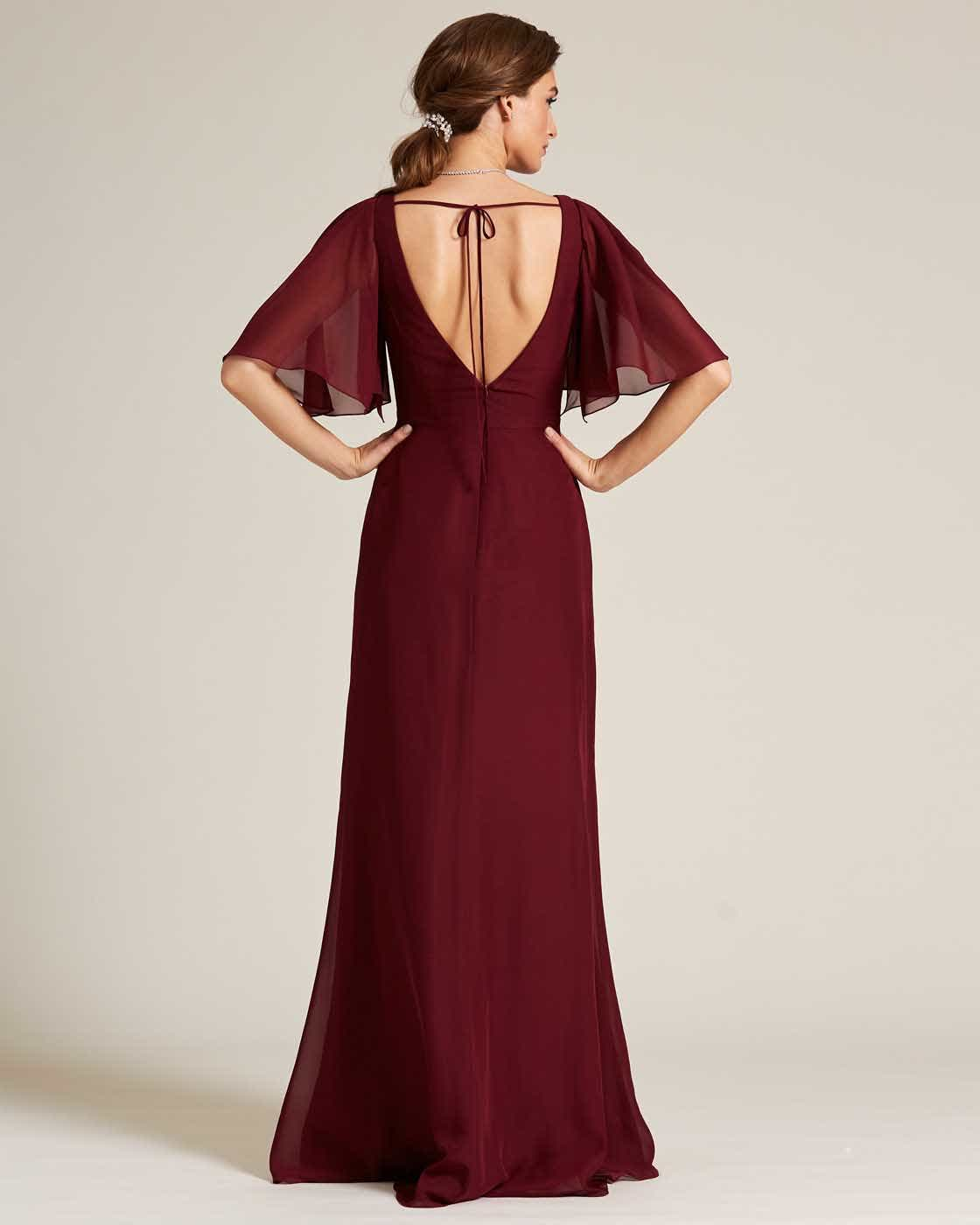 Burgundy Bell Cap Sleeve Gown - Back