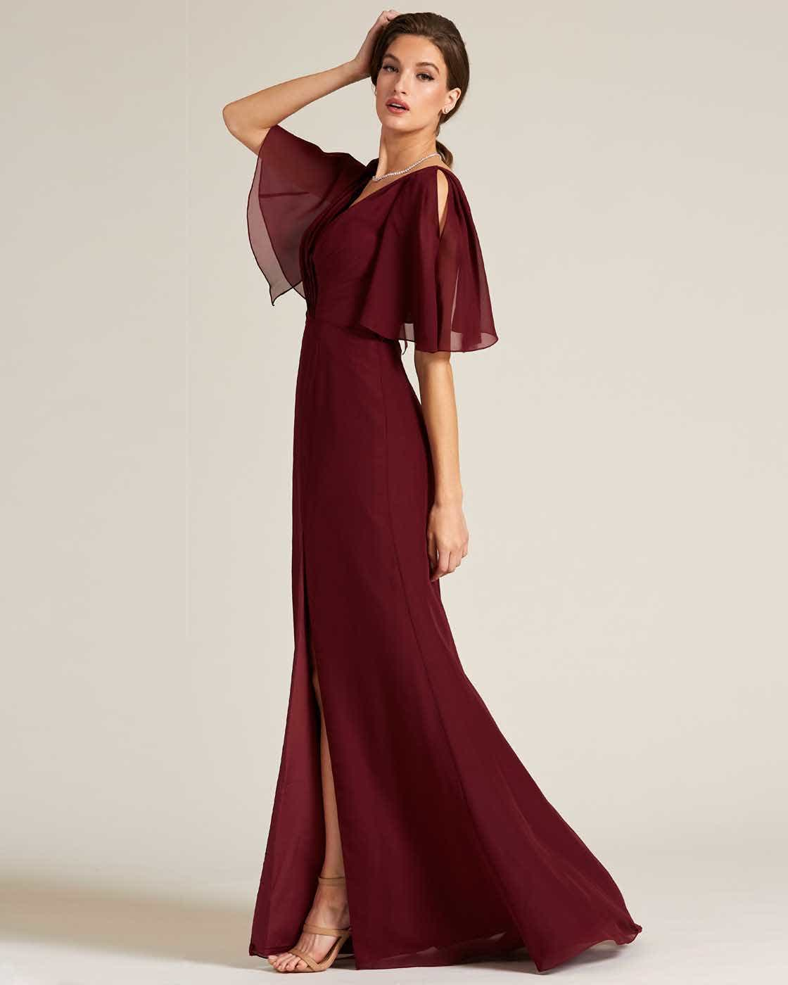 Burgundy Bell Cap Sleeve Gown - Side