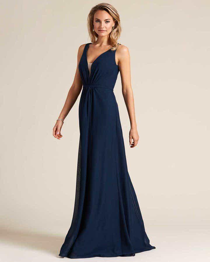 Blue Plunging V Neck Cut Out Dress - Front