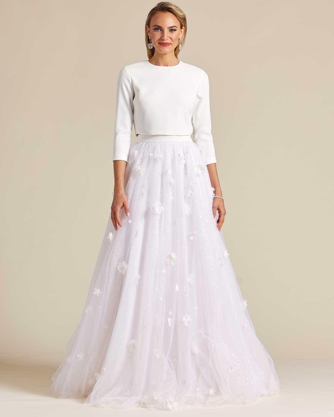 Minimal Style White Two Piece Wedding Dress - Front
