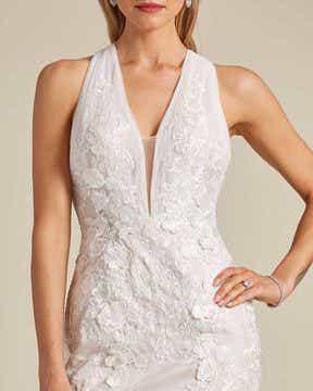 Classic Style Off White Mermaid Wedding Dress - Detail