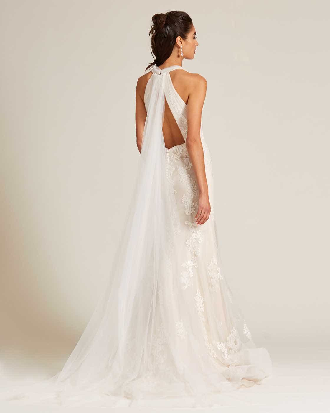 White Plunging V Neck Line Wedding Gown - Back