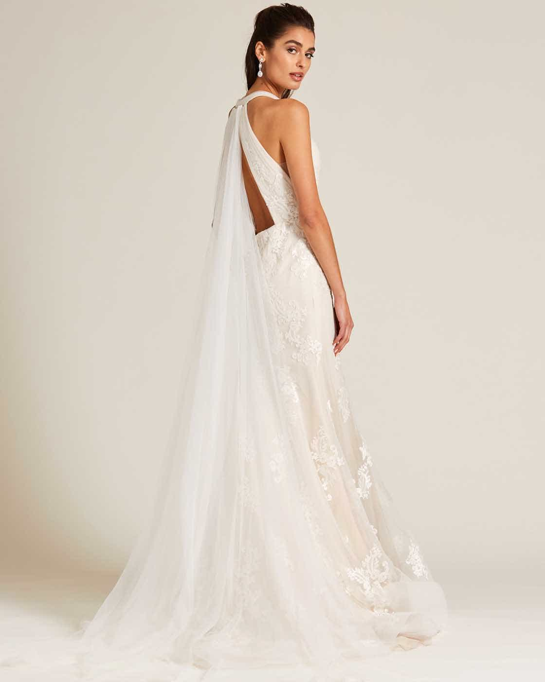 White Plunging V Neck Line Wedding Gown - Side