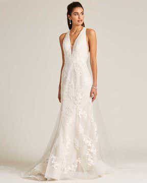 White Plunging V Neck Line Wedding Gown - Front
