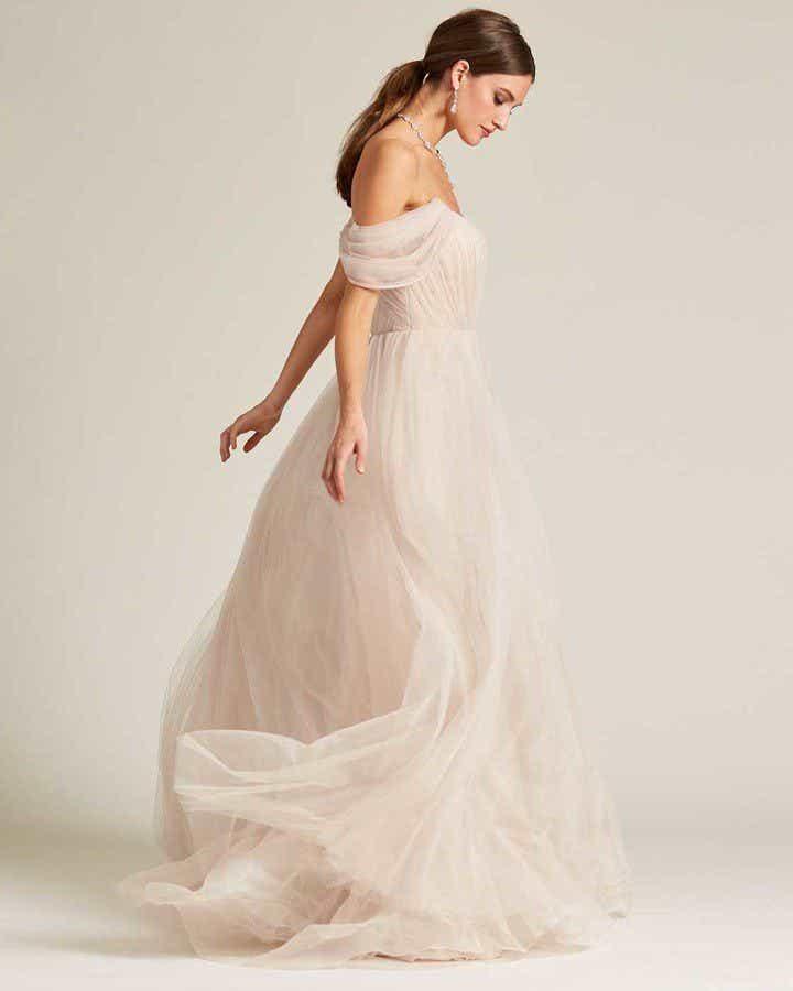 Beige Off Shoulder Ruched Formal Gown - Side