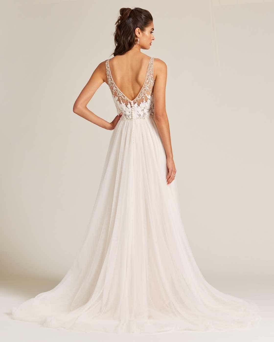 Blush Embroidered Top Wedding Dress - Back