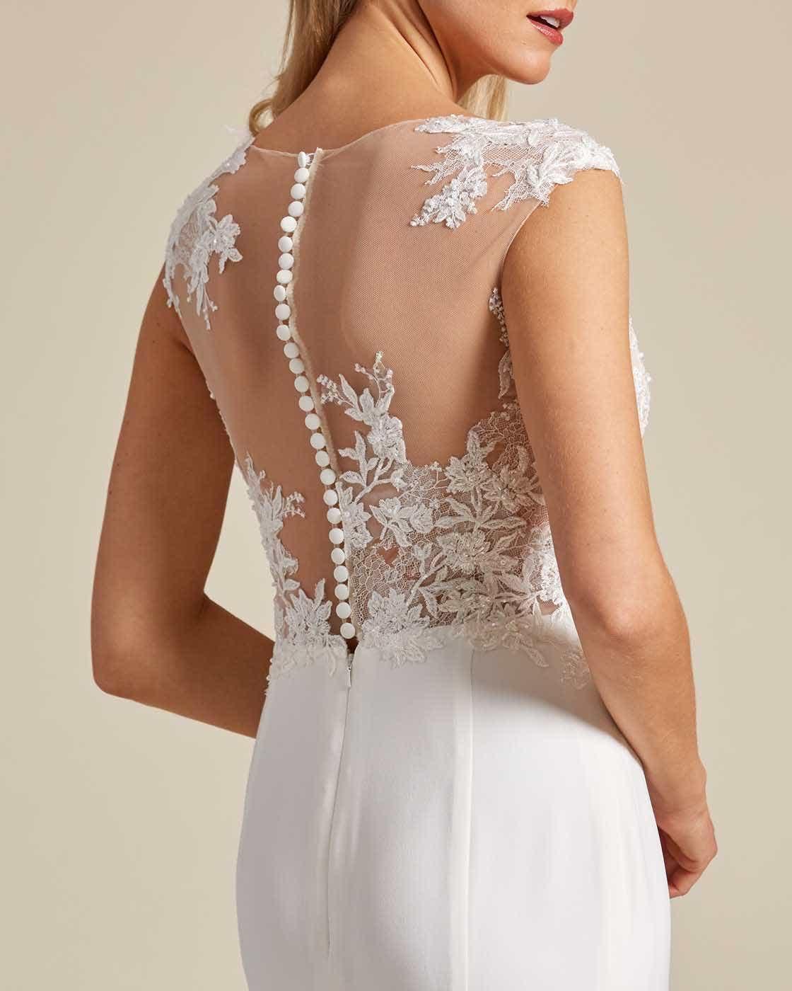 Cream White Button Down Back Wedding Dress - Detail