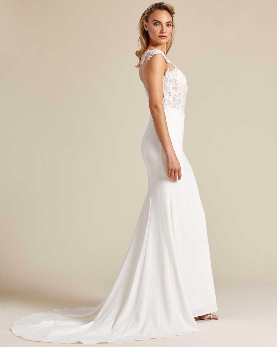 Cream White Button Down Back Wedding Dress - Side