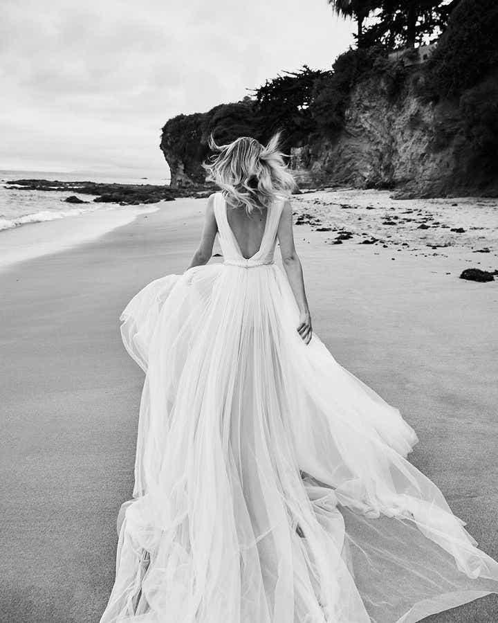Blush White Chiffon Wedding Gown - Editorial