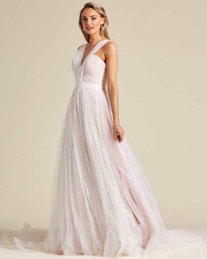 Blush White Chiffon Wedding Gown - Side