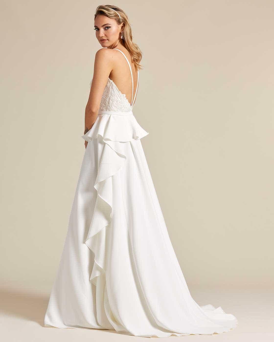 White Ballerina Waist Wedding Dress - Back