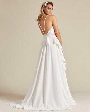 White Ballerina Waist Wedding Dress - Side