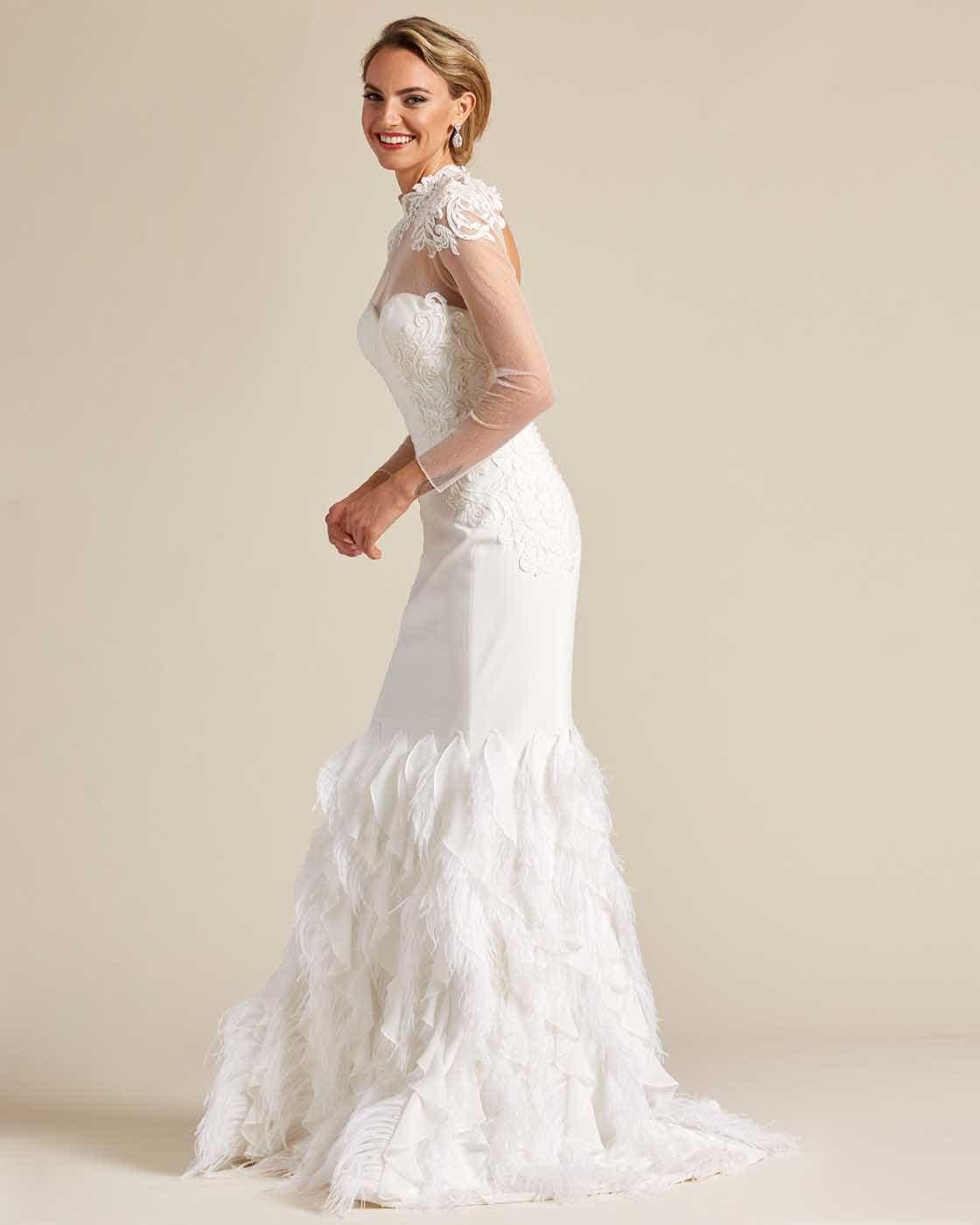 White Ivory Ruffled Mermaid Tail Wedding Gown - Side