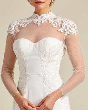 White Ivory Ruffled Mermaid Tail Wedding Gown - Detail